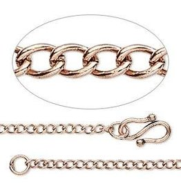 Firemountain Beads Chain, antique copper-plated  ass, 2.5mm curb, 18 inches with S-hook clasp