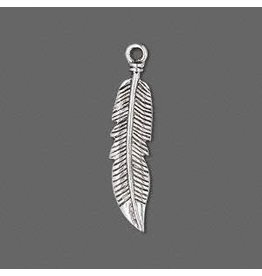 """Firemountain Beads Charm, antique silver-plated """"pewter"""" (zinc-based alloy), 28x7mm double-sided feather"""