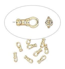 Firemountain Beads Crimp, gold-plated  ass, 4x2mm tube with loop, 1mm inside diameter. Sold per pkg of 10.