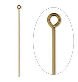 Firemountain Beads Eyepin, antique gold-plated  ass, 2 inches, 21 gauge. Sold per pkg of 100.