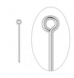 Firemountain Beads Eyepin, silver-plated brass, 1 inch, 21 gauge. Sold per pkg of 100.
