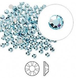 Firemountain Beads Flat back, Swarovski® crystal rhinestone, Crystal Passions®, aquamarine, foil back, 2.5-2.7mm Xilion rose (2058), SS9. Sold per pkg of 144 (1 gross).