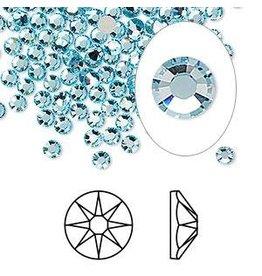 Firemountain Beads Flat back, Swarovski® crystal rhinestone, Crystal Passions®, aquamarine, foil back, 3-3.2mm Xirius rose (2088), SS12. Sold per pkg of 144 (1 gross).