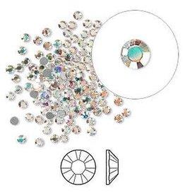 Firemountain Beads Regular Stock Flat back, Swarovski® crystal rhinestone, crystal AB, foil back, 2.1-2.3mm Xilion rose (2058), SS7. Sold per pkg of 144 (1 gross).