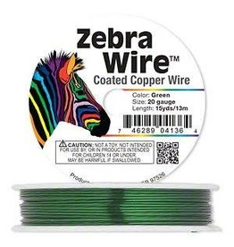 """Firemountain Beads Wire, Zebra Wireâ""""¢, color-coated copper, green, round, 20 gauge. Sold per 15-yard spool."""