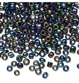 Firemountain Beads Seed bead, glass, opaque metallic rainbow green, #6 round. Sold per 20-gram vial.