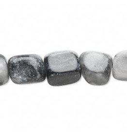Firemountain Beads Bead, grey and black marble (natural), small nugget, Mohs hardness 3. Sold per 16-inch strand.