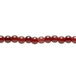 Firemountain Beads Bead, red agate (dyed / heated), dark, 4-5mm round, C+ grade, Mohs hardness 6-1/2 to 7. Sold per 15-inch strand.
