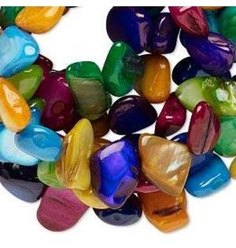Firemountain Beads Bead, mother-of-pearl shell (dyed), multicolored, mini to medium flat nugget, Mohs hardness 3-1/2. Sold per 34-inch strand.