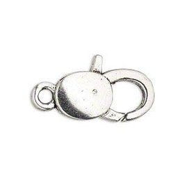"""Firemountain Beads Clasp, lobster claw, antique silver-plated """"pewter"""" (zinc-based alloy), 25x13mm with double-sided smooth design. Sold per pkg of 6."""