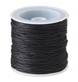 Firemountain Beads Cord, waxed cotton, black, 1mm. Sold per 25-meter spool.