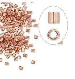 Firemountain Beads Crimp, copper, 2x2mm seamless tube, 1.2mm inside diameter. Sold per pkg of 100.