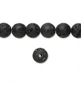 Firemountain Beads Bead, lava rock (waxed), 8mm round, B grade, Mohs hardness 3 to 3-1/2. Sold per 16-inch strand