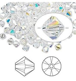 Firemountain Beads Bead, Swarovski® crystals, Crystal Passions®, crystal AB, 4mm Xilion bicone (5328). Sold per pkg of 144 (1 gross).