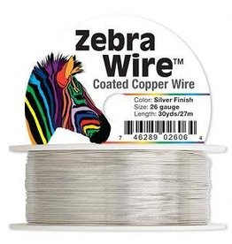 "Firemountain Beads Wire, Zebra Wireâ""¢, copper, silver color, round, 26 gauge. Sold per 30-yard spool."