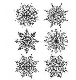 Treasuremart Cling Stamp, Swirly Snowflakes