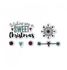 Tim Holtz Framelits Die Set w/Stamps, Sweet Christmas 5Pk