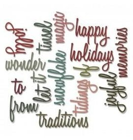 Tim Holtz Thinlits Die Set, Holiday Words 2: Script 16PK