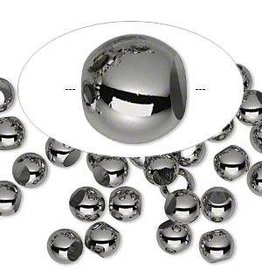 Firemountain Gems Bead, gunmetal-plated  ass, 6mm round. Sold per pkg of 100.