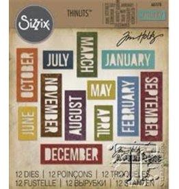 Tim Holtz Thinlits Die Set, Calendar Words Block 12Pk