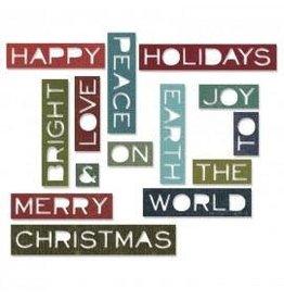 Tim Holtz Thinlits Die Set, Holiday Words 2 14Pk