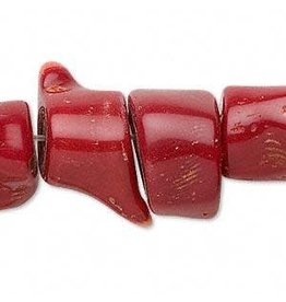 Firemountain Gems Bead, bamboo coral (dyed), red, 20x12mm-30x17mm freeform, D grade, Mohs hardness 3-1/2 to 4