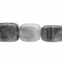 Firemountain Gems Bead, black and grey marble (coated), 15x11mm-17x13mm flat rectangle, C grade, Mohs hardness 3.