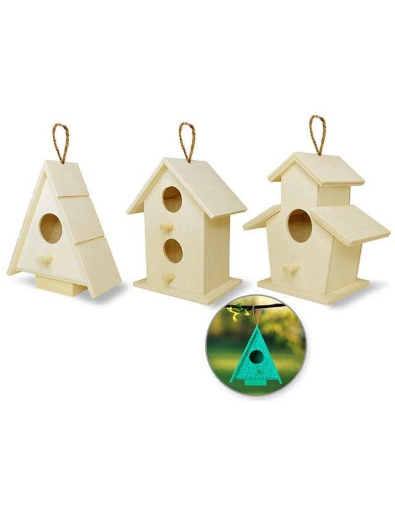 Christmas Birdhouses Crafts.Multicraft 4 Birdhouses W Jute Cord