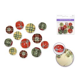 MultiCraft 25mm Patterned Wood Button Medley x12 Asst - S) Plaid