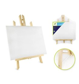 """MultiCraft Stretch Artist Canvas: 9""""x12"""" (23x30.5cm) on Wooden Easel"""
