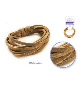 MultiCraft Jewelry/Craft Cord: 100% Suede 3mm Flat x2m - D) Natural