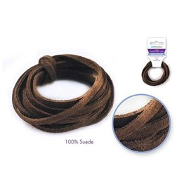 MultiCraft Jewelry/Craft Cord: 100% Suede 3mm Flat x2m - A) Dark  brown