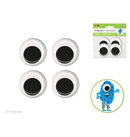 MultiCraft Paste-On Googly Eyes: 45mm Asst x4 Black Standard