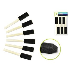 "MultiCraft Color Factory: Sponge  brush 6/pk 1"" w/Wood Handle"