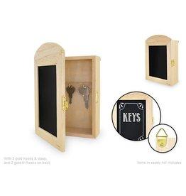 "MultiCraft Wood Craft: 7.63""x5.1"" DIY Chalkboard Key Cabinet w/3 Gold Hooks"