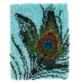 "Wonderart Wonderart Latch Hook Kit 15""X20"" Peacock Feather"