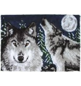 "Wonderart Wonderart Latch Hook Kit 27"" x 40"" Midnight Wolves"