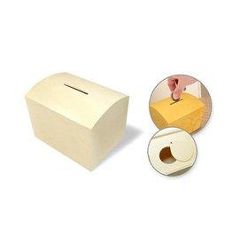 "MultiCraft Wood Craft: 3.9""X3""X3"" Diy Coin Piggy Bank W/Bottom Slide Latch"