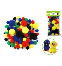 MultiCraft Pom Poms Jumbo Pack x90 Primary Colors Asst
