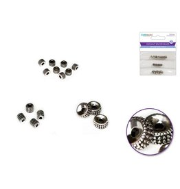 MultiCraft Metal Beads: Round Spacer Beads 3-Style Multi-Pack Lead/Nickel Free - A) Antique Silver