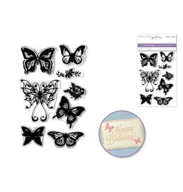 """MultiCraft ClearStamps: 4.12""""x6.25"""" Reusable/Interchangeable - D) Butterfly"""