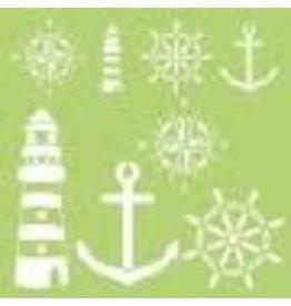 Treasuremart Stencil, 12X12 Designer Template - Nautical Elements