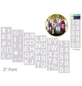 "MultiCraft Color Factory: 2"" Alpha/Numeric/Symbol Stencil 6-Sht Set"