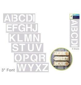 """MultiCraft Color Factory: 3"""" Alphabet Stencil 6-Sht Set"""
