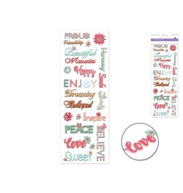 """MultiCraft Paper Craft Stickers: 4.33""""x12.2"""" Glimmer Puffy Sentiments - B) Happy"""