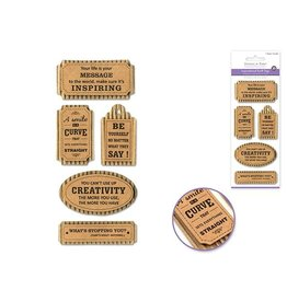 """MultiCraft Handmade Sticker: 3""""x6.5"""" 3D Paper Inspirational Kraft Tags - A) Your Life is Your Message"""