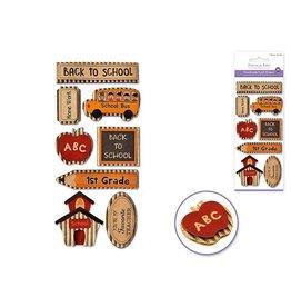 "MultiCraft Handmade Sticker: 3""x6.5"" 3D Kraft Paper Elements - B) Back to School"