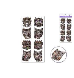 MultiCraft Paper Craft Sticker: 9cmx17.5cm 3D Embossed Vintage Elegance - B) Owls