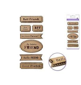 """MultiCraft Handmade Sticker: 3""""x6.5"""" 3D Paper Sentiment Kraft Tags - E) Friends Forever"""