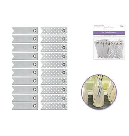 MultiCraft Silver Combo Paper Craft Emb: 1cm x 5cm Pennant Tags x20 w/Grommets